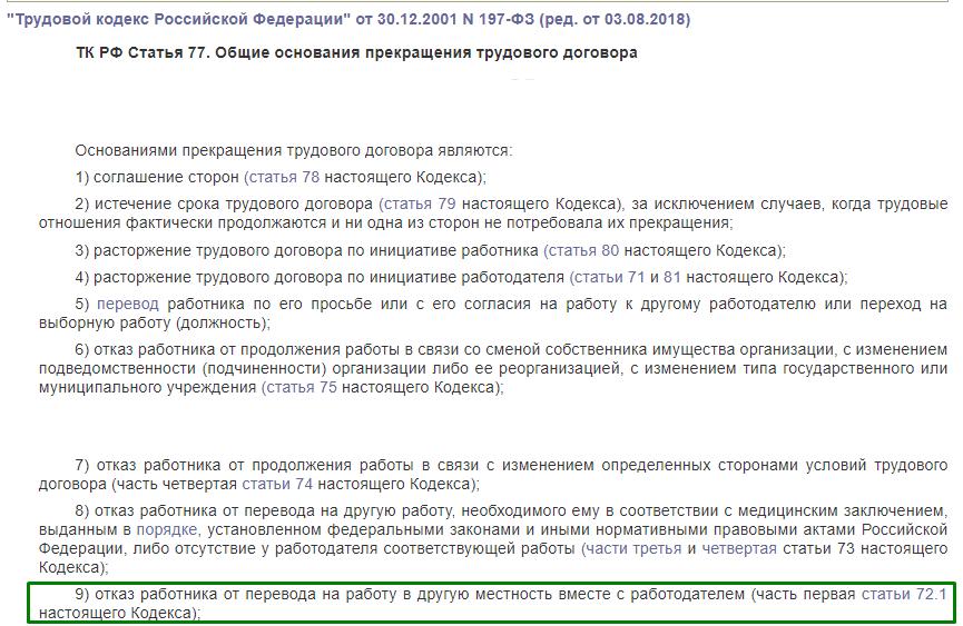 ТК РФ статья 77
