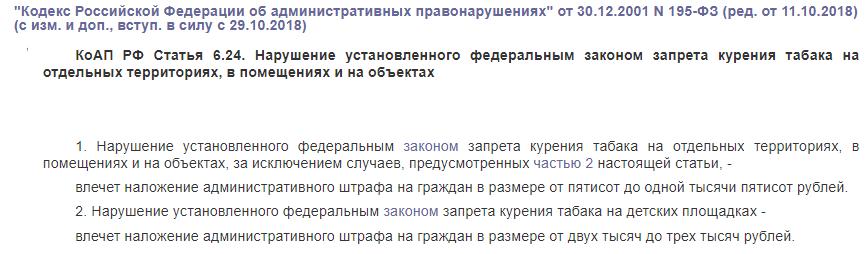 Коап РФ статья 6.24