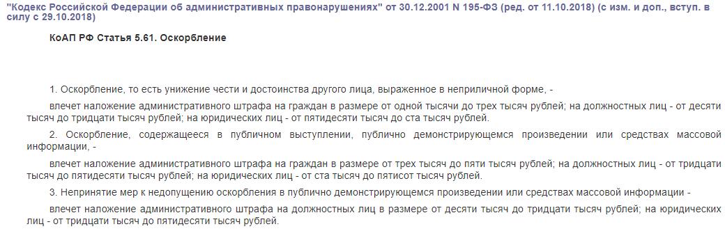 КоАП РФ статья 5.61