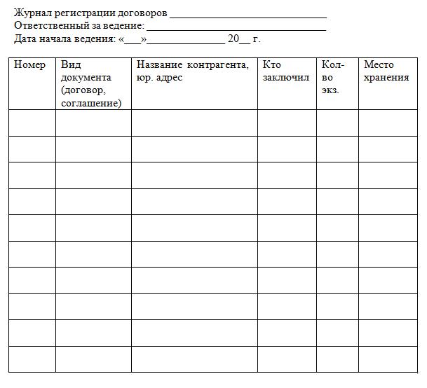 журнал регистрации договоров
