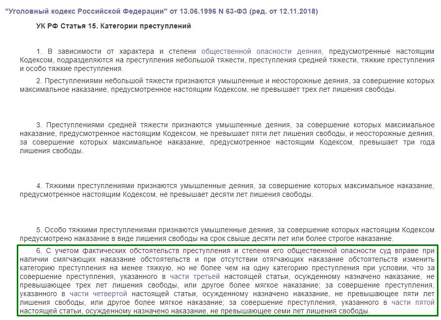 УК РФ статья 15