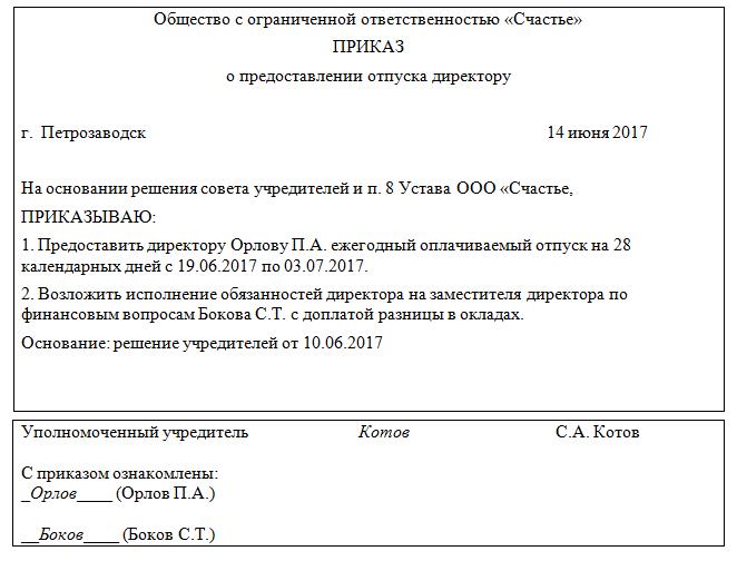 Образец приказа о предоставлении отпуска директору