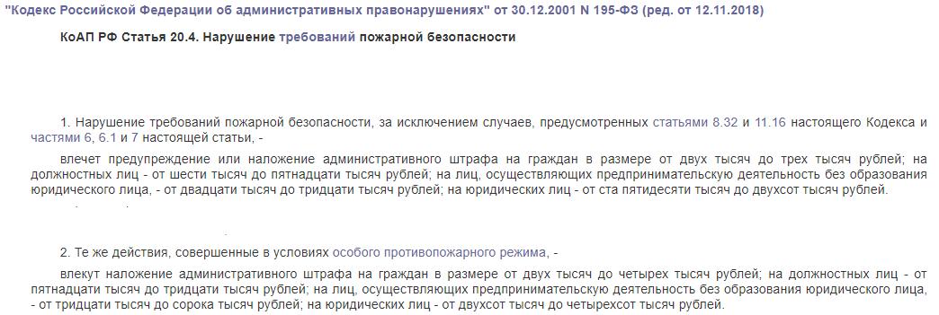 КоАП РФ статья 20.4