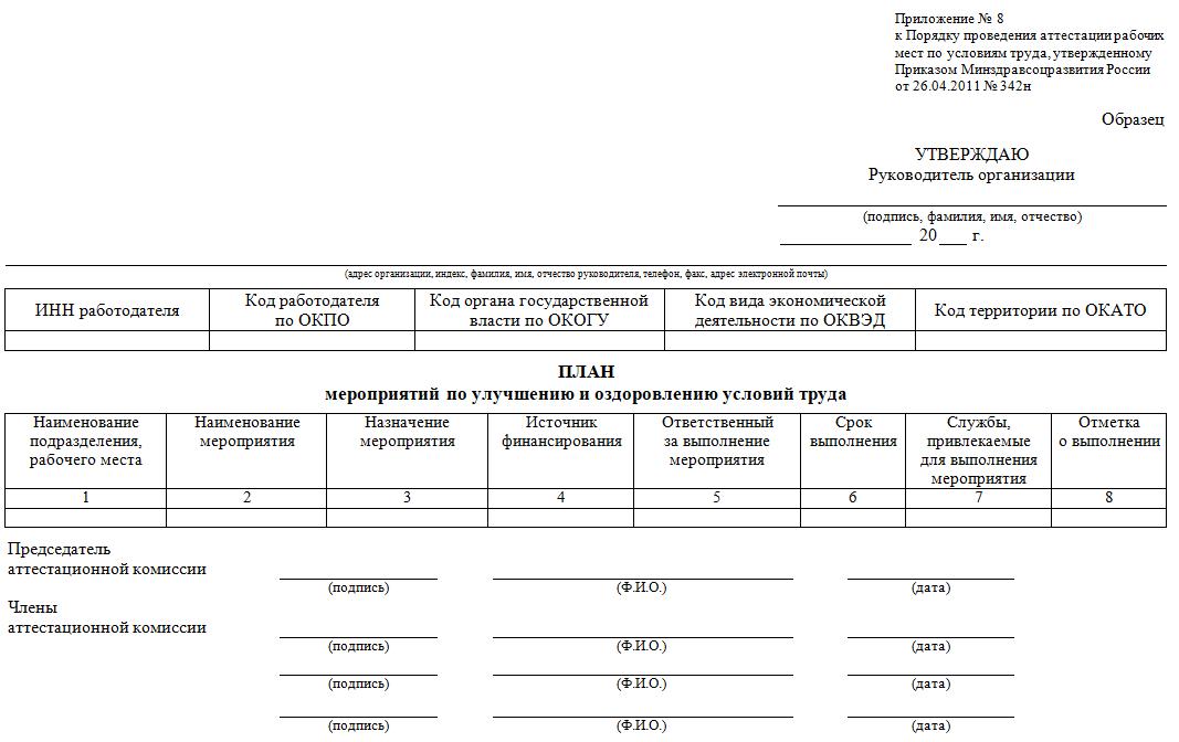 Пример бланка плана мероприятий