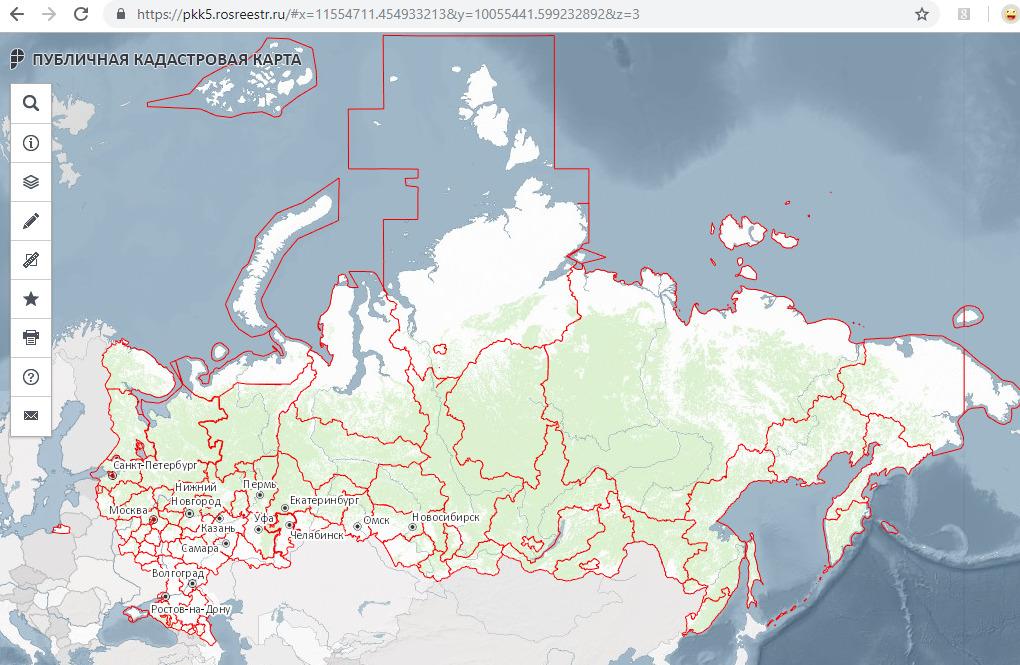 Выбор земли на кадастровой карте